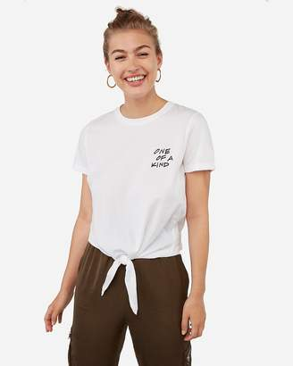 Express One Of A Kind Graphic Tie Front T-Shirt