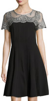 Chetta B Short-Sleeve Lace-Yoke A-Line Dress, Black/Silver