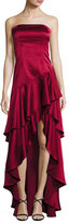 Alice + Olivia Strapless Tiered Asymmetric Satin Gown, Bordeaux