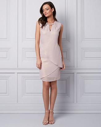 Le Château Foil Chiffon Cutout Cocktail Dress