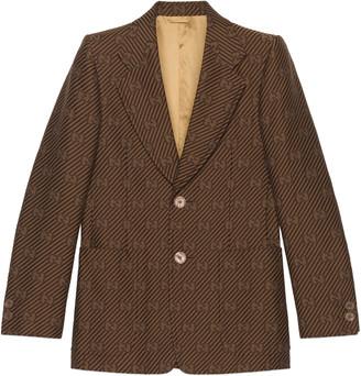 Gucci Diagonal GG stripe cotton silk jacket