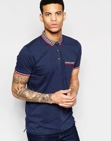 Brave Soul Geo Contrast Collar Polo