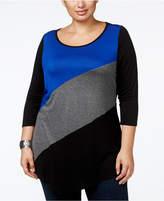 Belldini Plus Size Colorblock Handkerchief-Hem Tunic