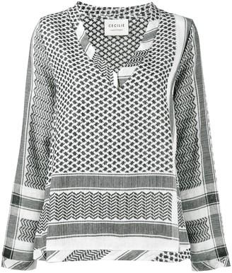 Cecilie Copenhagen keffiyeh print V-neck shirt