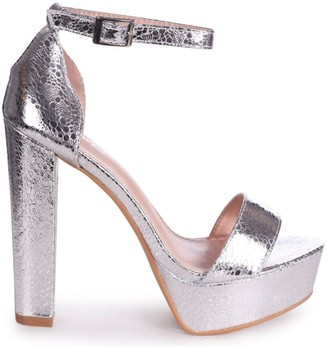 Linzi ELLEN - Silver Cracked Metallic Closed Back Barely There Platform Block Heel
