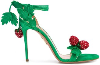 Aquazzura Ankle Tie Strawberry Sandals