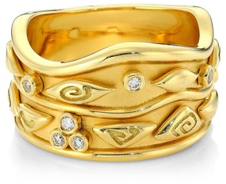 Temple St. Clair Nature Deconstructed Wave 18K Yellow Gold & Diamond Ring