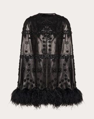 Valentino Embroidered Leather Cape Women Black Elastane 100% 40