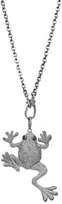 Nina Gilin Black Rhodium-Plated Silver, Diamond Pave & Sapphire Frog Pendant Necklace