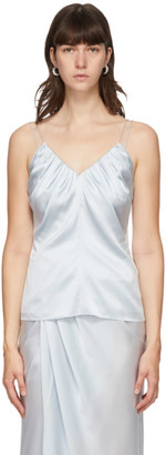 Helmut Lang Blue Silk Satin Ruched Tank Top