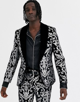 Twisted Tailor skinny velvet suit jacket with silver print in black