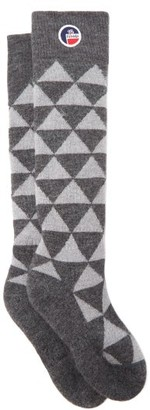 Fusalp Pic Triangle Jacquard Wool-blend Compression Socks - Grey