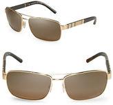 Burberry Canvas Check 63mm Aviator Sunglasses