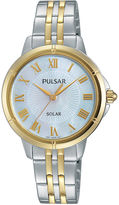 Pulsar Womens Two-Tone Mother-of-Pearl Solar Bracelet Watch