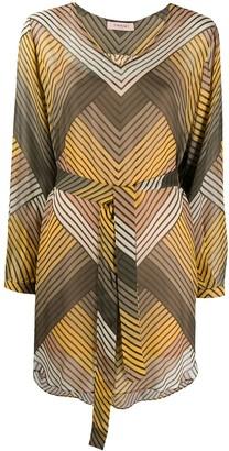 Twin-Set Striped Shift Mini Dress