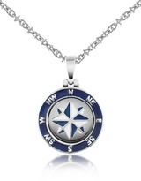 Forzieri Stainless Steel Windrose Pendant Necklace