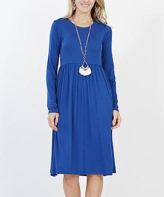Lydiane Women's Casual Dresses SAPPHIRE - Sapphire Long-Sleeve Empire-Waist Dress - Women