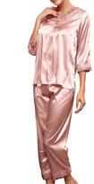 Zhhmeiruian Women's Satin Silk Long Sleeve Sleepwear Nightwear Pajama Set