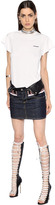 DSQUARED2 Jersey & Denim Dress W/ Leather Details