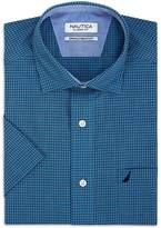 Nautica Classic Fit Wrinkle Resistant Windowpane Short Sleeve Shirt