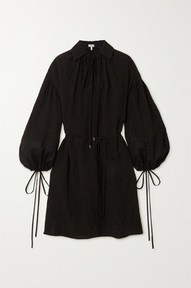 Loewe Tie-detailed Crinkled-shell And Cotton Shirt Dress - Black