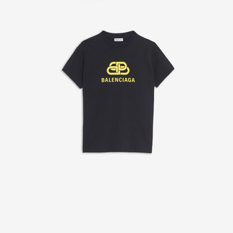 Balenciaga BB Regular Fit T-shirt in black and yellow printed light jersey
