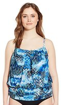 Fit 4 U Women's Plus-Size Scattered Elements Mesh Blouson Tankini