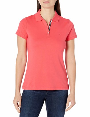Nautica Women's 3-Button Short Sleeve Breathable 100% Cotton Polo Shirt