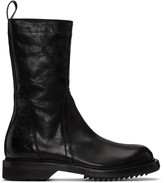 Rick Owens Black Cracked Creeper Boots