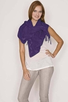 LoveQuotes Scarves Love Quotes Linen Knotted Fringe Scarf in Heliotrope