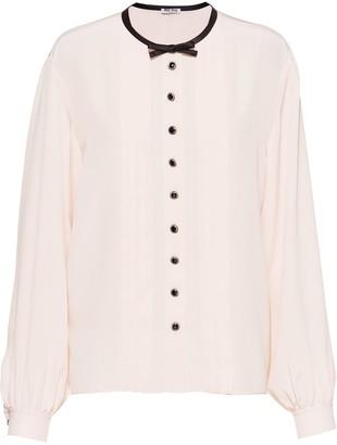Miu Miu Bow-Detail Pleated Shirt