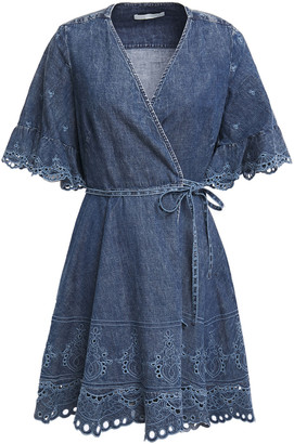 Jonathan Simkhai Broderie Anglaise-trimmed Denim Mini Wrap Dress