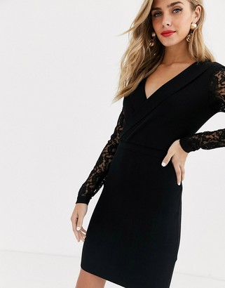 Morgan wrap front pencil dress with lace detail in black