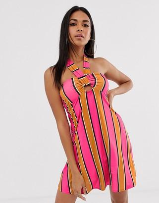ASOS DESIGN slinky jersey beach sundress with halter neck in multi stripe