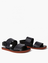 Marni Black And Navy Leather Sandals