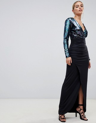 Outrageous Fortune sequin plunge front midi dress with wrap skirt in blue glitter contrast