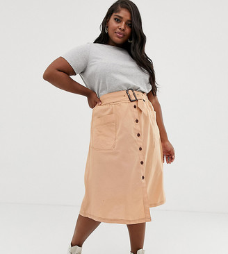 ASOS DESIGN Curve button front midi skirt with tortoise shell belt and contrast stitching