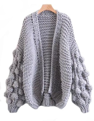 Goodnight Macaroon 'Abbey' Hand-knitted Pom Pom Sleeve Chunky Cardigan (2 Colors)