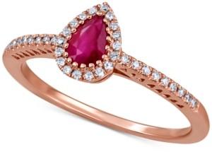 Macy's Certified Ruby (1/2 ct. t.w.) & Diamond (1/8 ct. t.w.) Ring in 14k Rose Gold