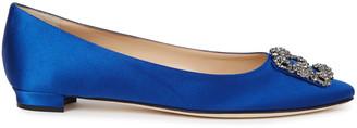 Manolo Blahnik Hangisi 10 blue silk satin pumps
