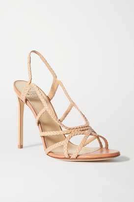 Francesco Russo Braided Leather Slingback Sandals - Neutral