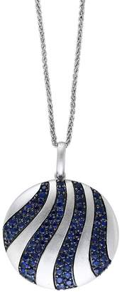 Effy Sterling Silver Pave Sapphire Striped Disc Pendant Necklace