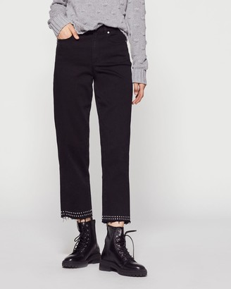 Vince Camuto Studded High-rise Crop Jeans