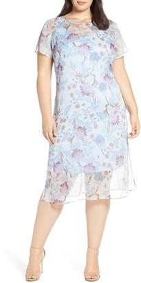 Vince Camuto Floral Print Short Sleeve Midi Dress (Plus Size)