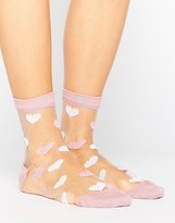 Asos Valentines Sheer Heart Socks