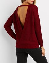 Charlotte Russe Shaker Stitch Surplice-Back Sweater