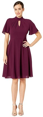 Maggy London Crepe Fit and Flare Dress with Flutter Sleeve (Oxblood) Women's Dress