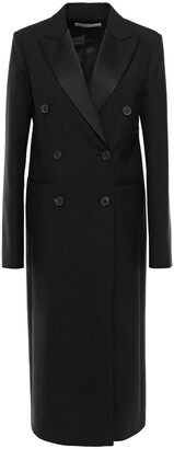 Victoria Beckham Double-breasted Satin-trimmed Wool And Mohair-blend Coat