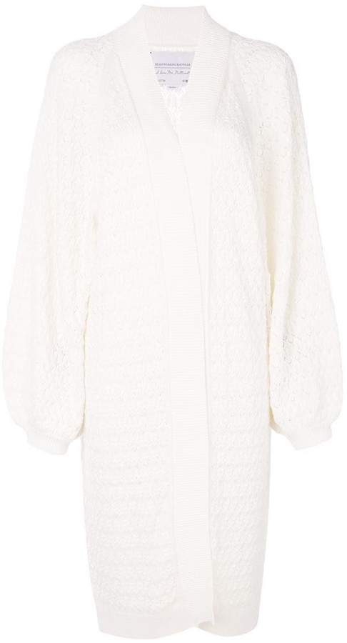 I Love Mr Mittens long lace knitted cardigan