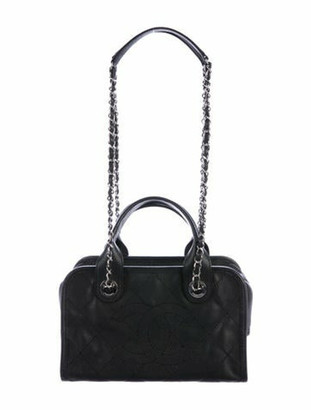 Chanel 2015 Quilted Deauville Bowling Bag Black